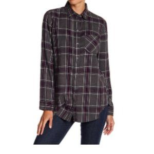 Melrose & Market Button Down Plaid Shirt Top